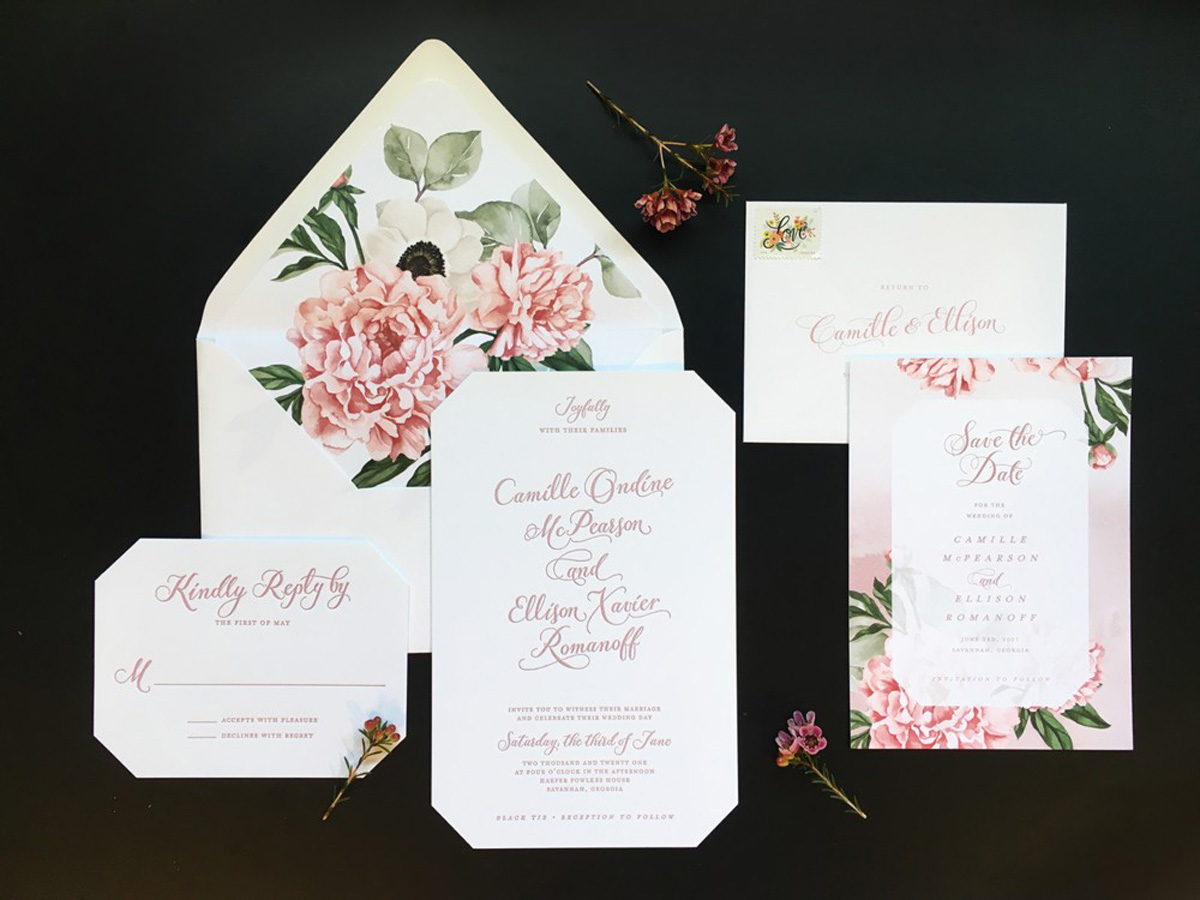 pink rose wedding invitation with reply card and save the date