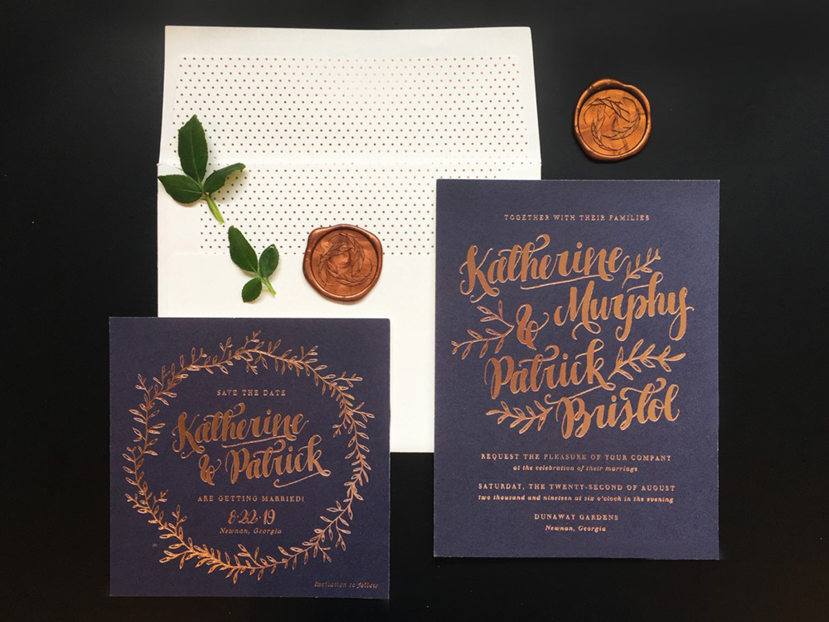 wedding invitation with foil stamping blue stock