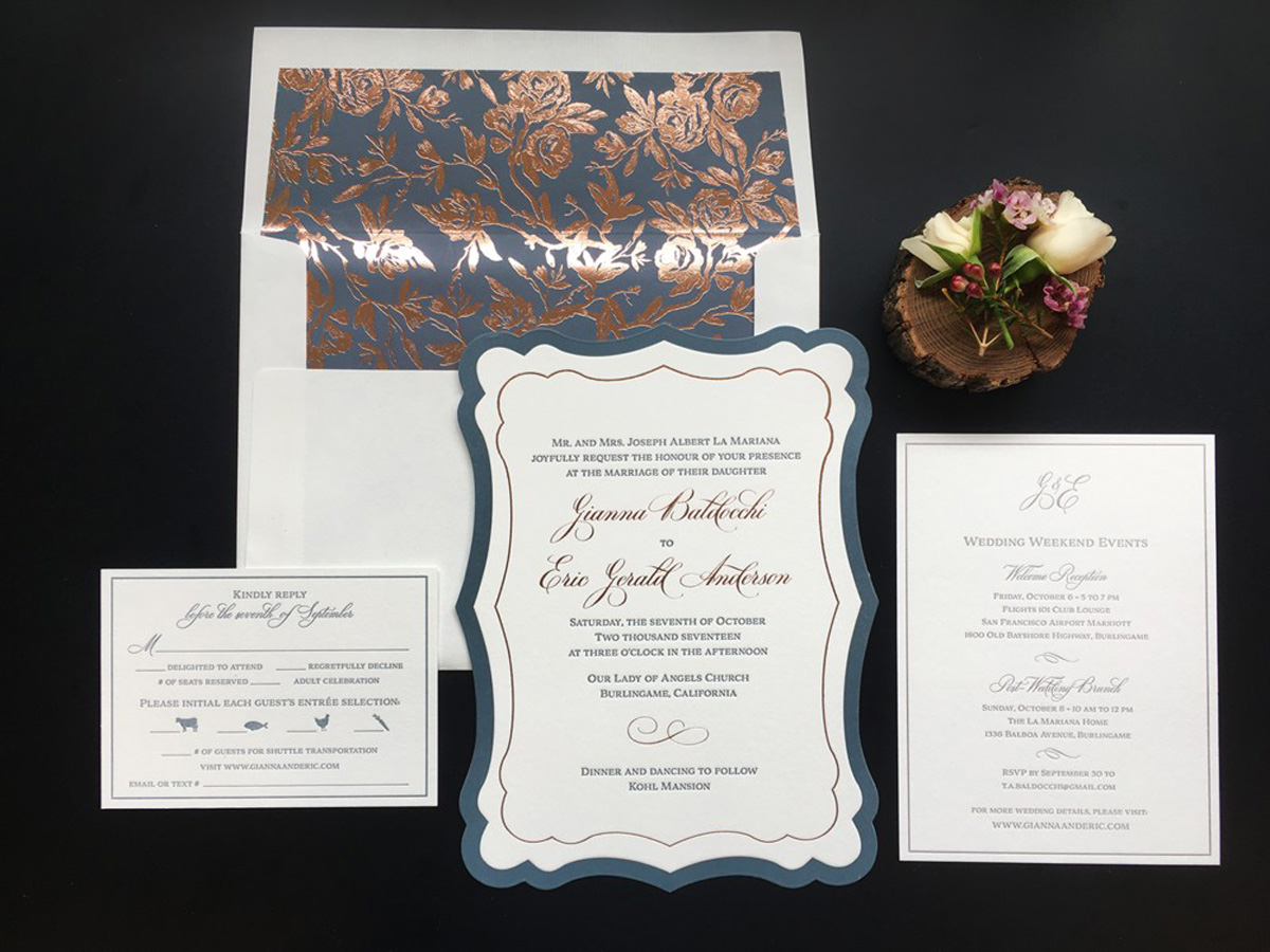 wedding invitation with reply card entree choice and weekend event card