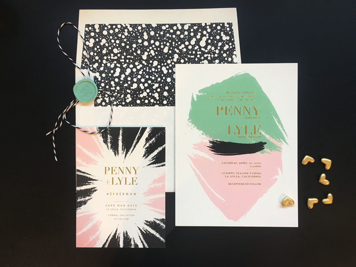 modern wedding invitation with colorful brush strokes