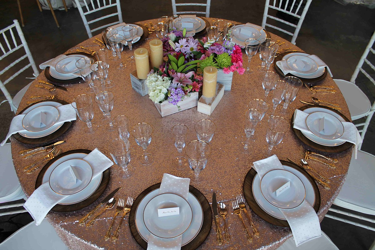 sparkly gold linen celebrations party rentals Lake Tahoe wedding