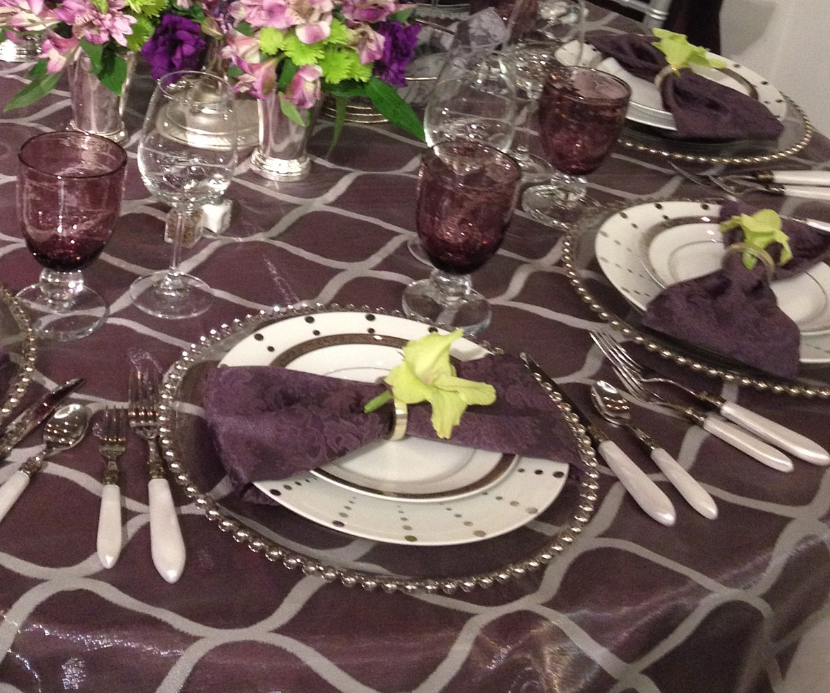 purple satin linen accessories celebrations party rentals Lake Tahoe wedding