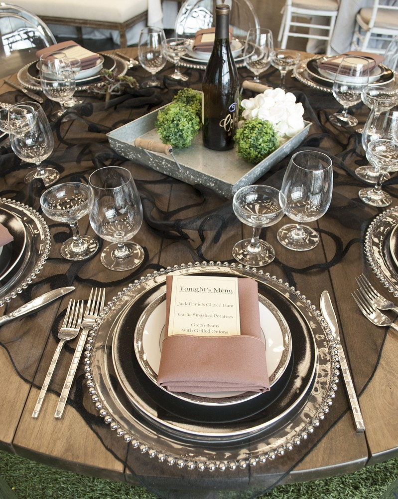 black sheer overlay celebrations party rentals Lake Tahoe wedding