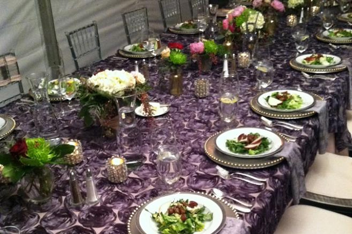 purple rosette linen celebrations party rentals Lake Tahoe wedding