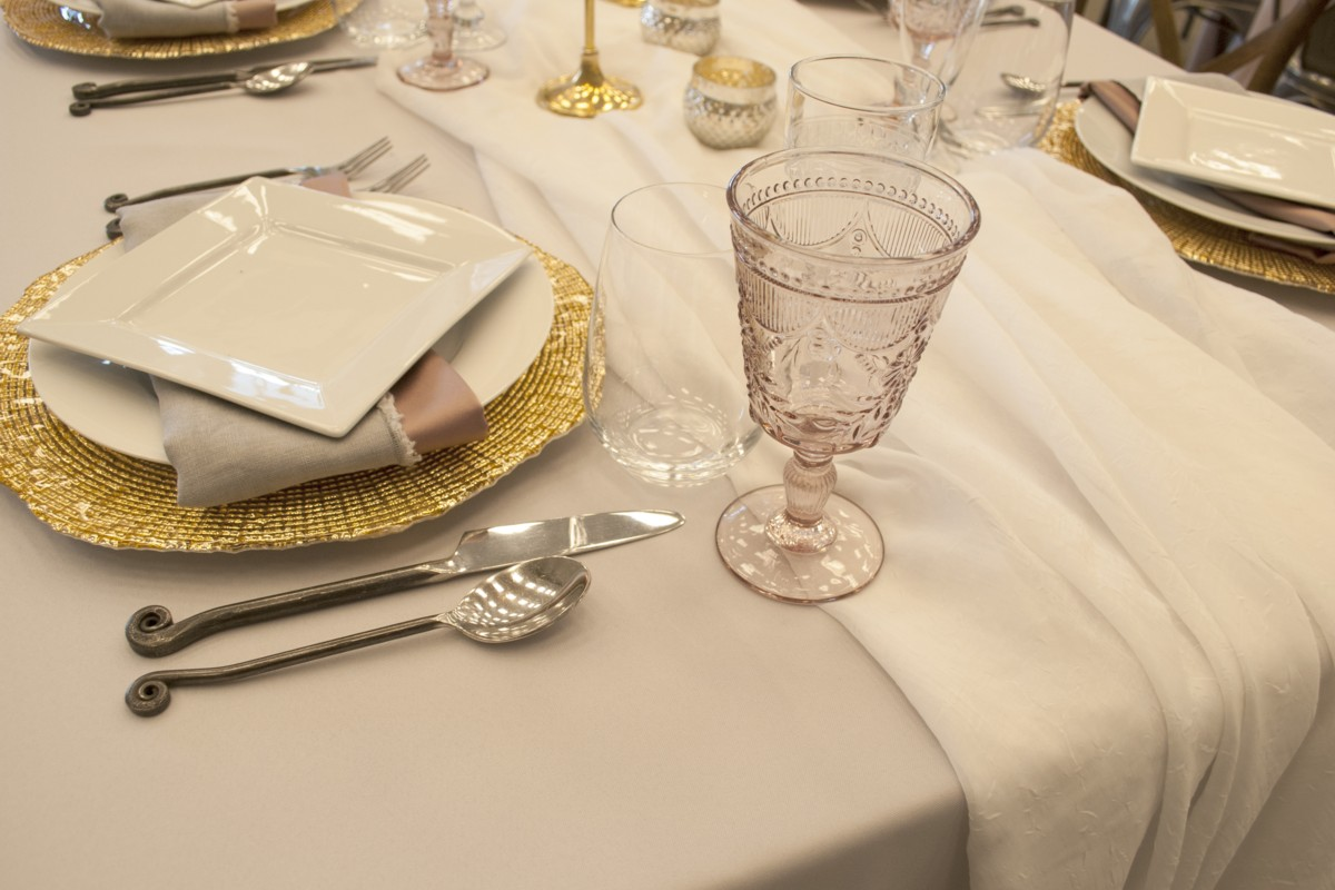 place setting layered linens and napkins Celebrations Party Rentals Lake Tahoe wedding