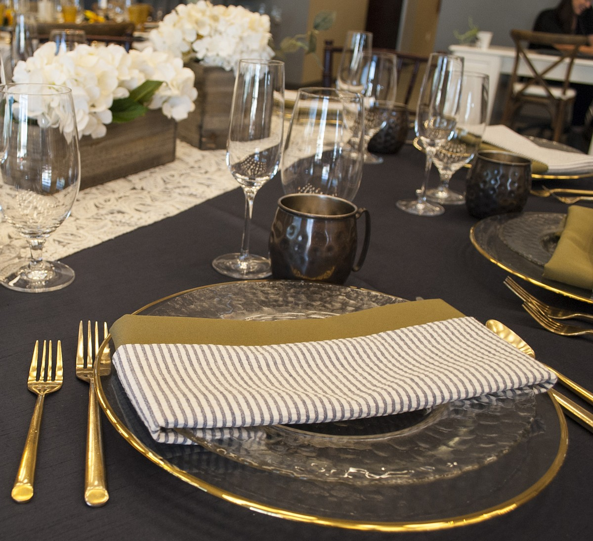 gold stripe napkin celebrations party rentals Lake Tahoe wedding
