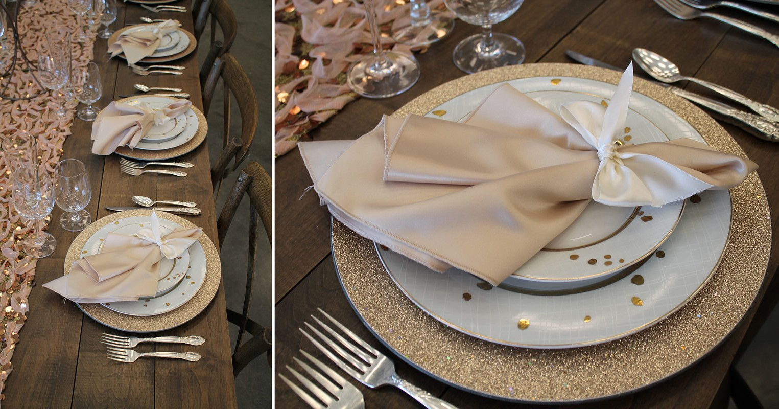 gold place setting and runner celebrations party rentals Lake Tahoe wedding