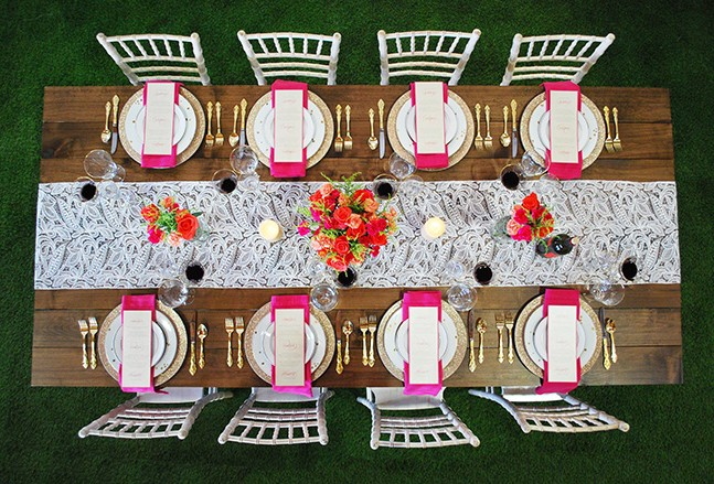 colorful table setting celebrations party rentals wedding