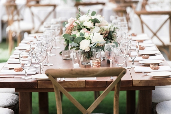 Farm Table with matching chairs celebrations party rentals wedding