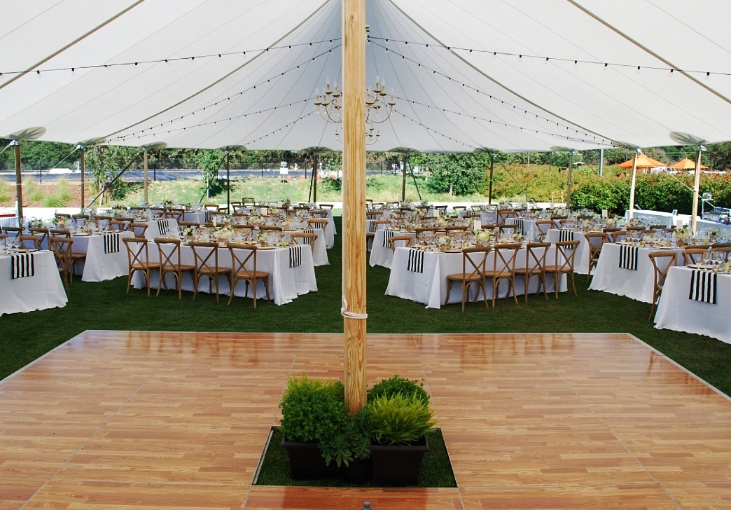 Black and White Table Runners with Dance Floor rentals