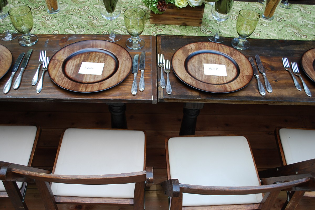 wood grain chargers celebrations party rentals wedding