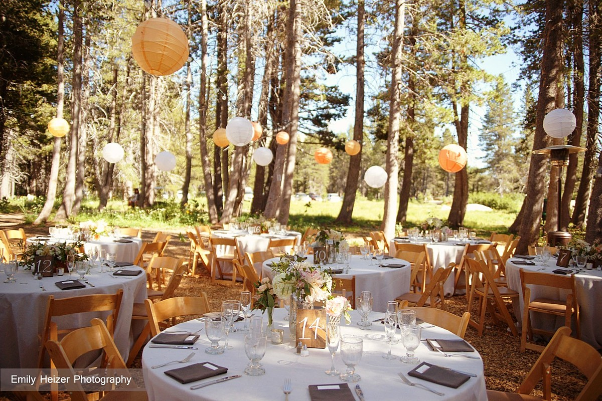 Tables with Paper Lanterns celebrations party rentals wedding