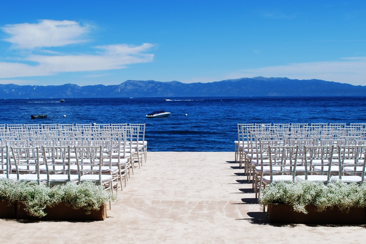 Lake Tahoe wedding ceremony chairs rentals
