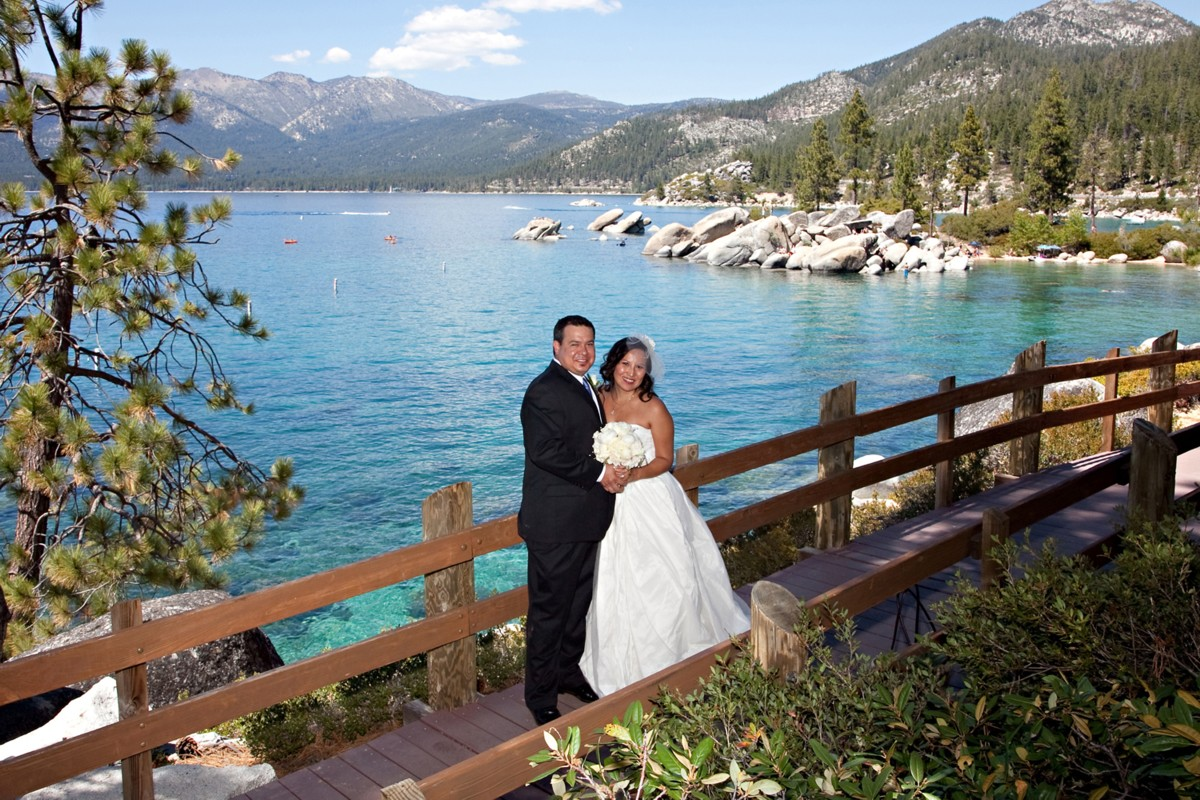 couple at Sand Harbor Lake Tahoe wedding officiant Ceremony of Love