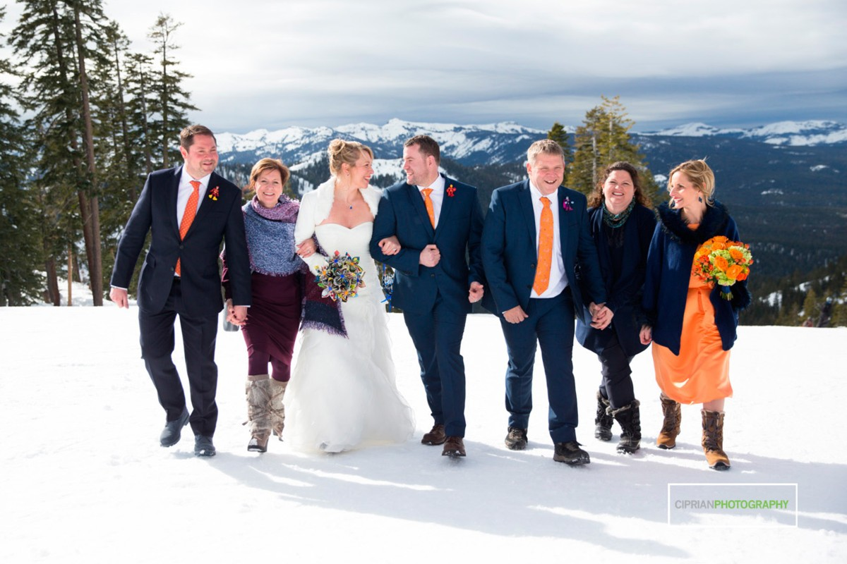 wedding party in snow Lake Tahoe officiant Ceremony of Love