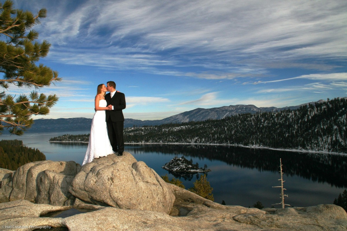 couple at Emerald Bay Lake Tahoe wedding officiant Ceremony of Love