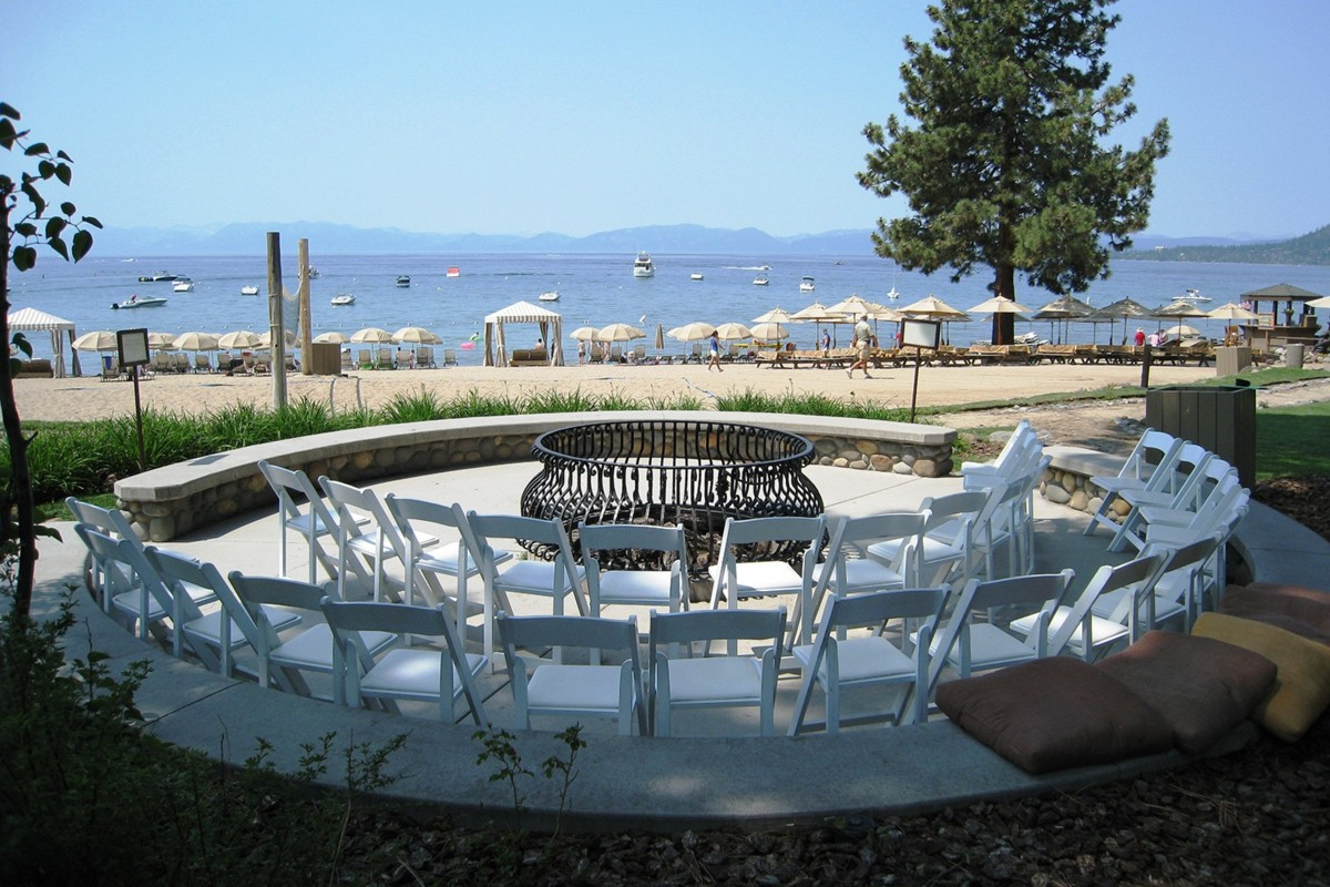 chairs in round Hyatt Regency Lake Tahoe wedding officiant Ceremony of Love