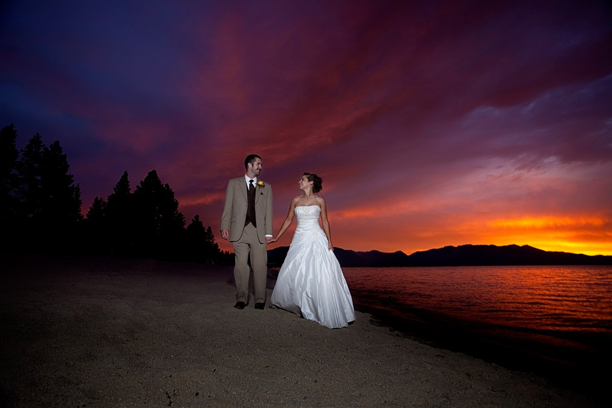 couple on beach at sunset Lake Tahoe wedding planner Ceremony of Love