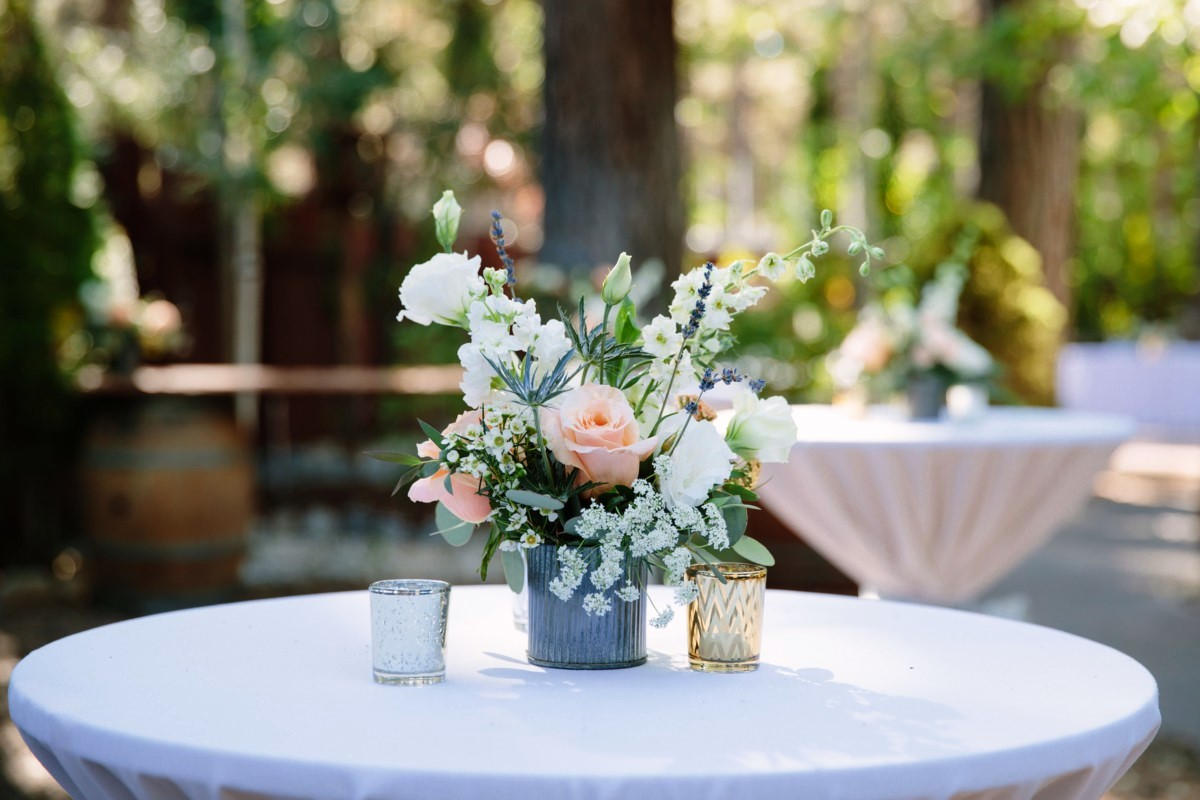 Lake Tahoe wedding florist Create With T - cocktail table