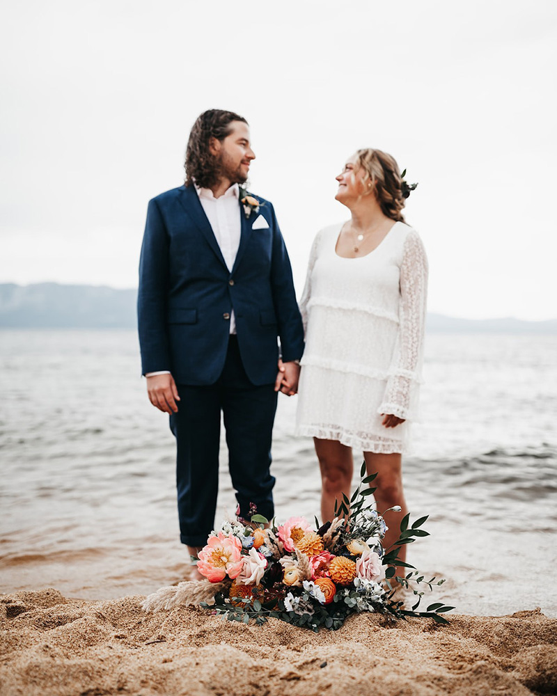 Lake Tahoe Elopement - couple standing on shore