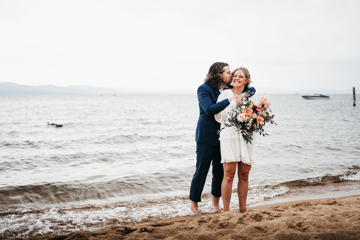 Lake Tahoe Elopement - romantic moment on beach