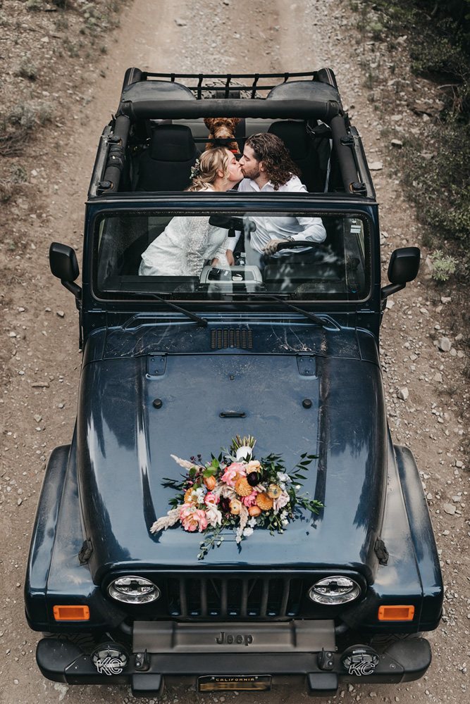 Lake Tahoe Elopement - couple in Jeep