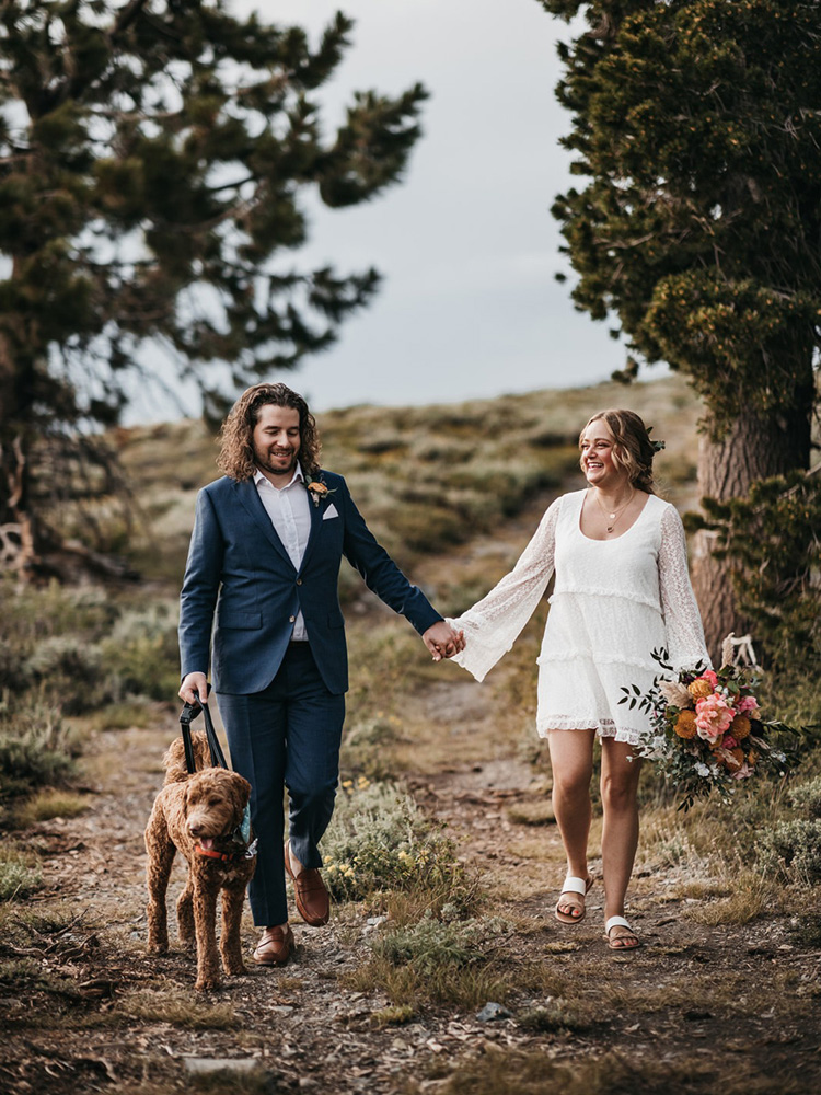Lake Tahoe Elopement - couple walking on trail to ceremony