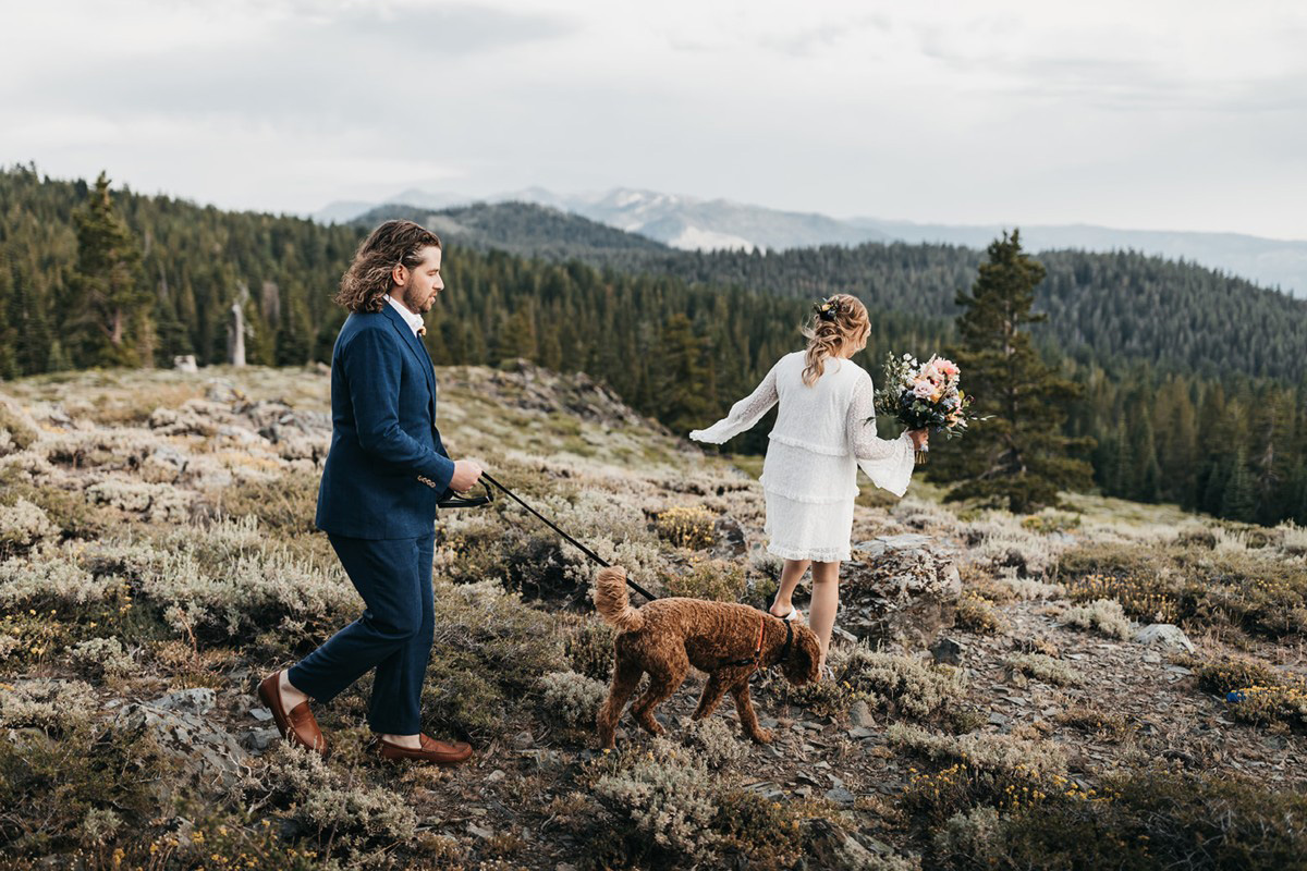Lake Tahoe Elopement - couple and dog walking to ceremony location