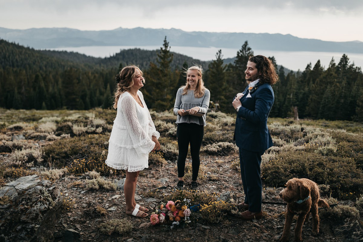 Lake Tahoe Elopement - couple ready to exchange vows