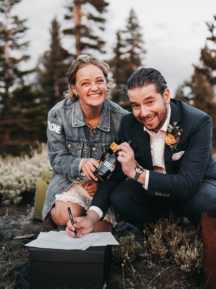 Lake Tahoe Elopement - signing the papers and celebrating