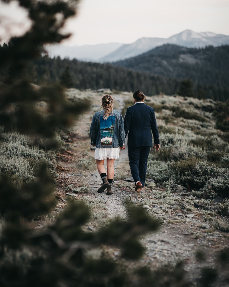 Lake Tahoe Elopement - couple walking on trail after ceremony
