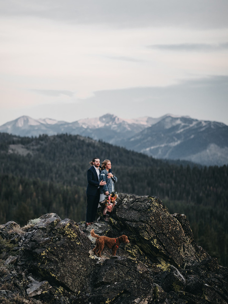Lake Tahoe Elopement - couple enjoying the mountain scenery from a lofty perch