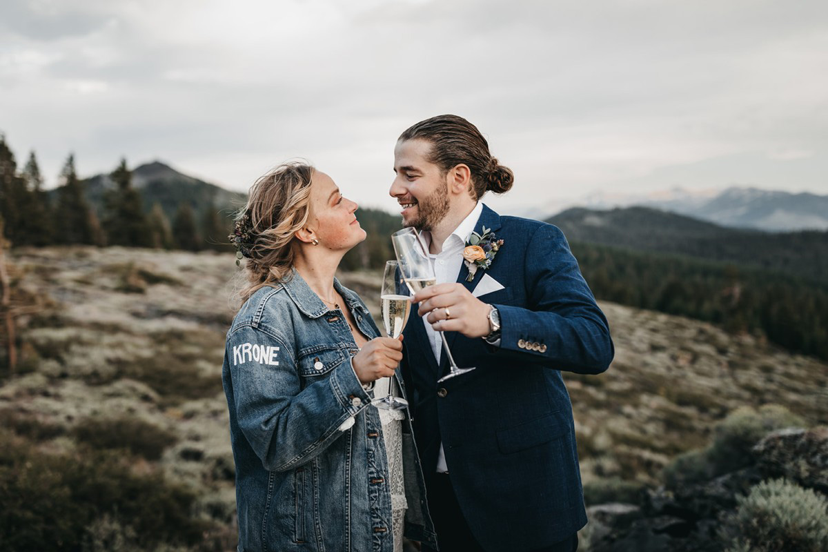 Lake Tahoe Elopement - couple celebrating with champagne