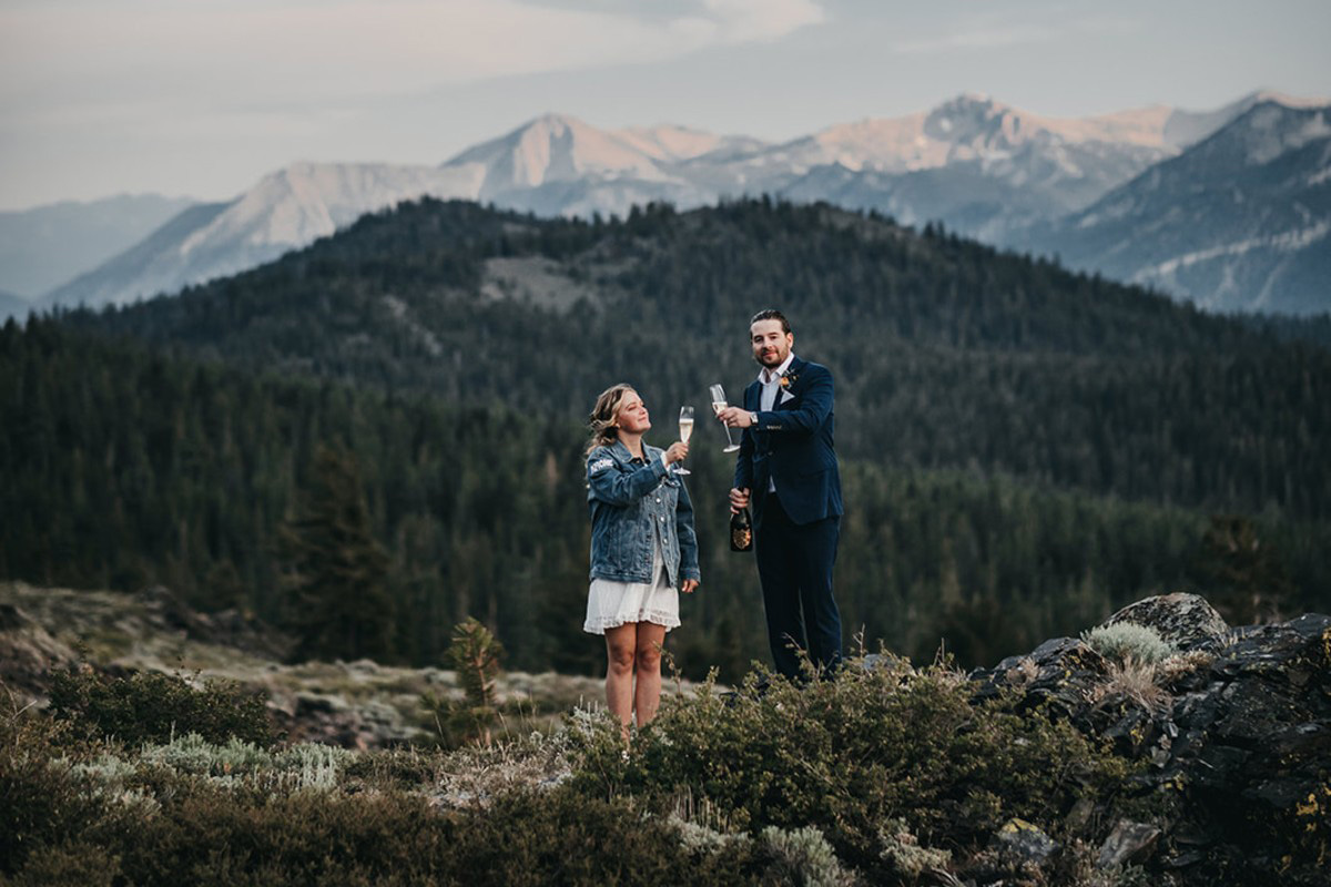 Lake Tahoe Elopement - couple toasting their marriage