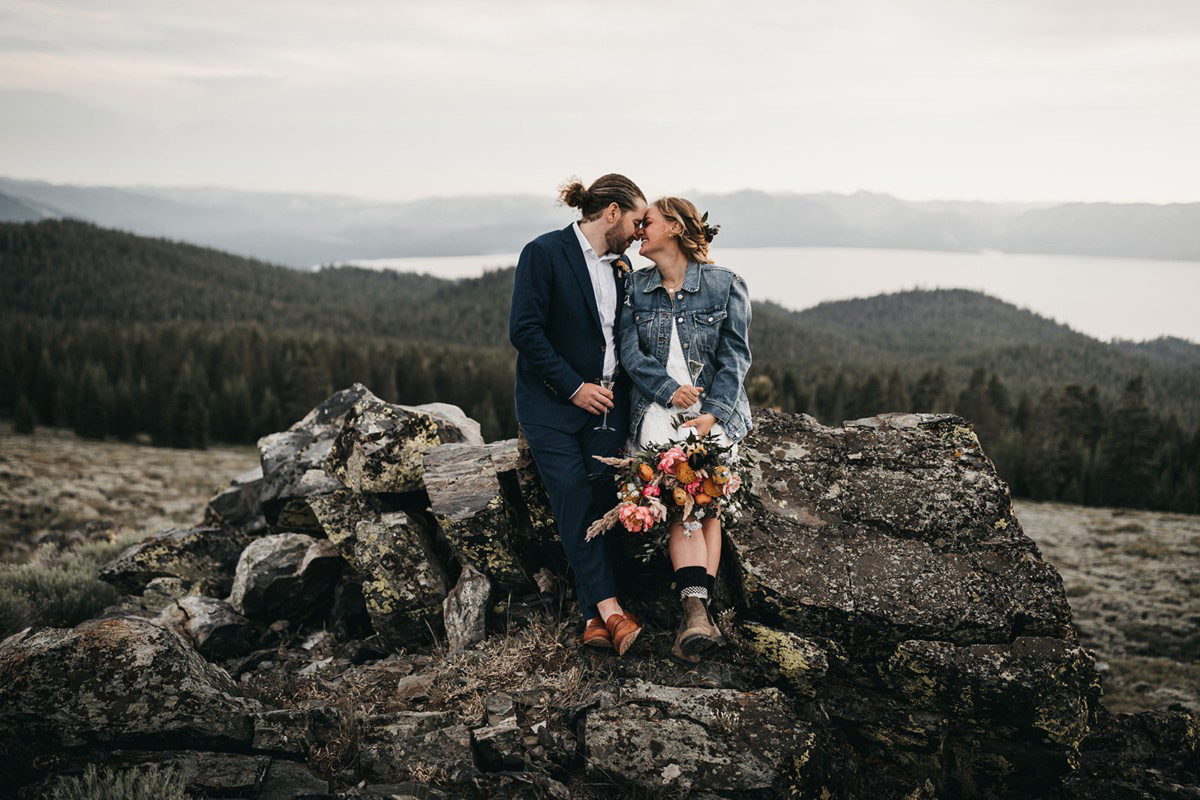 Lake Tahoe Elopement - couple enjoying the champagne and scenery