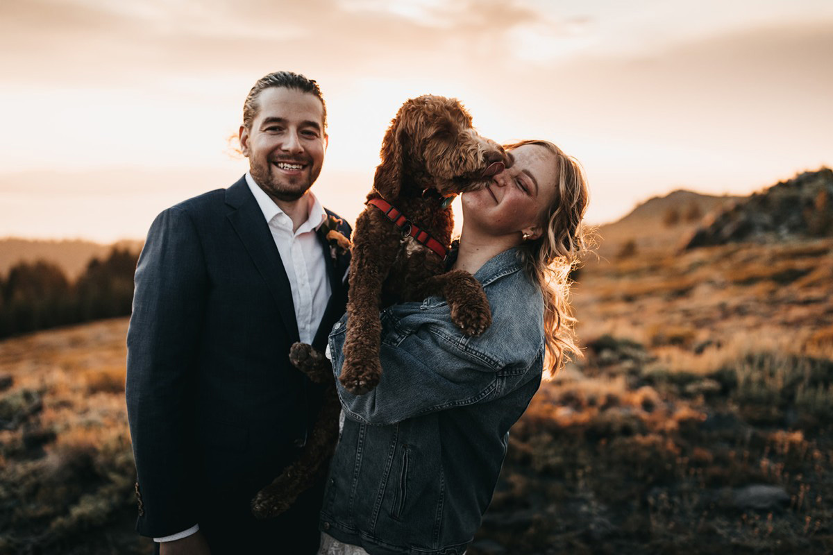 Lake Tahoe Elopement - dog offers congratulations to bride