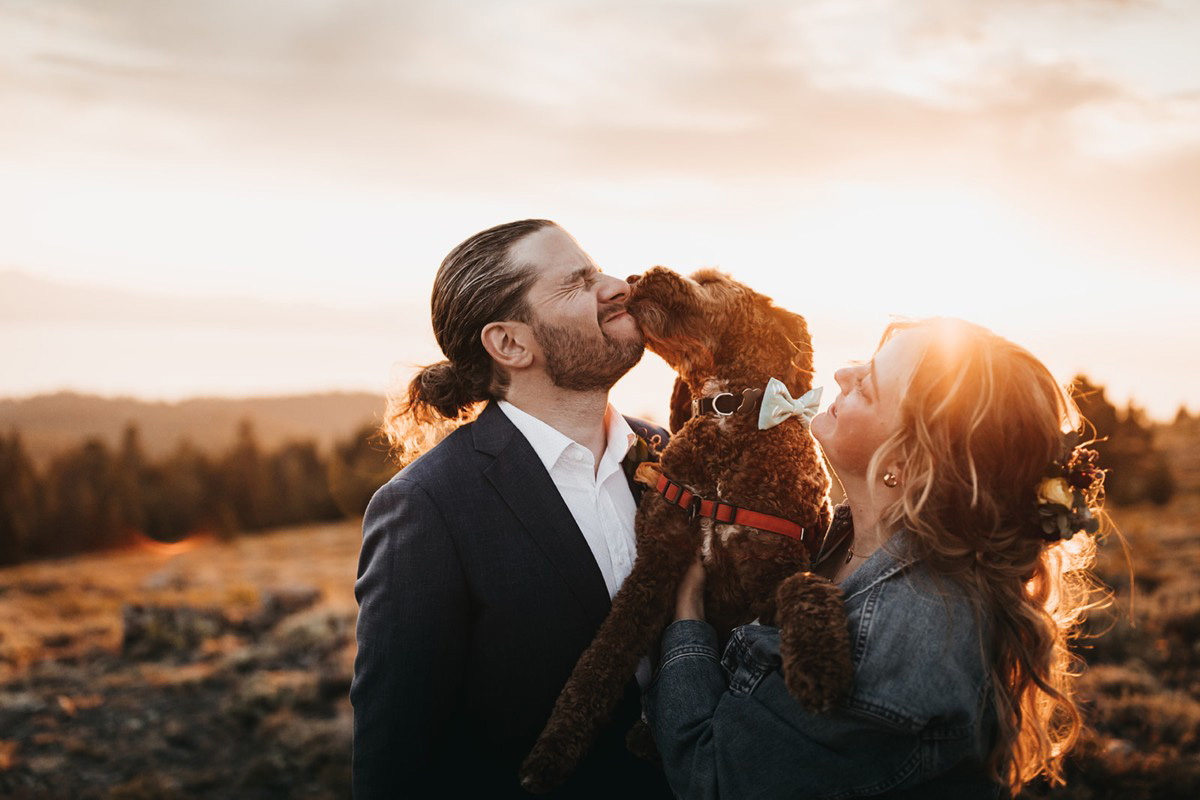Lake Tahoe Elopement - dog offers congratulations to groom
