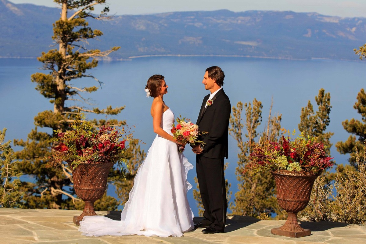 Lake Tahoe wedding Forest Suites Resort - couple overlooking lake