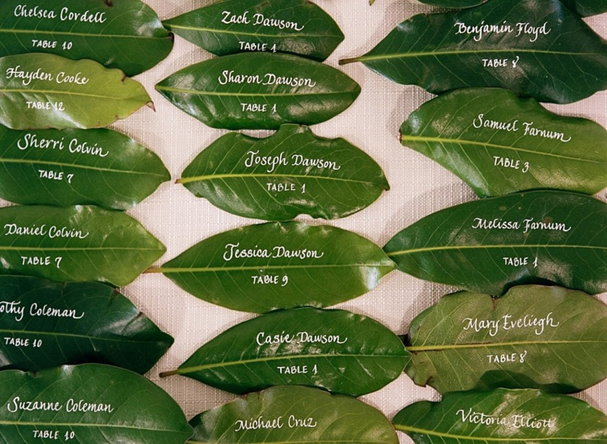 Rebecca Rose Events Leaf Escort Cards green wedding