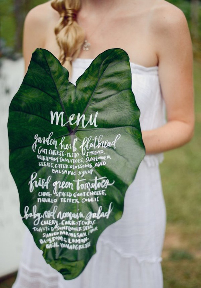 fresh green leaves wedding menu