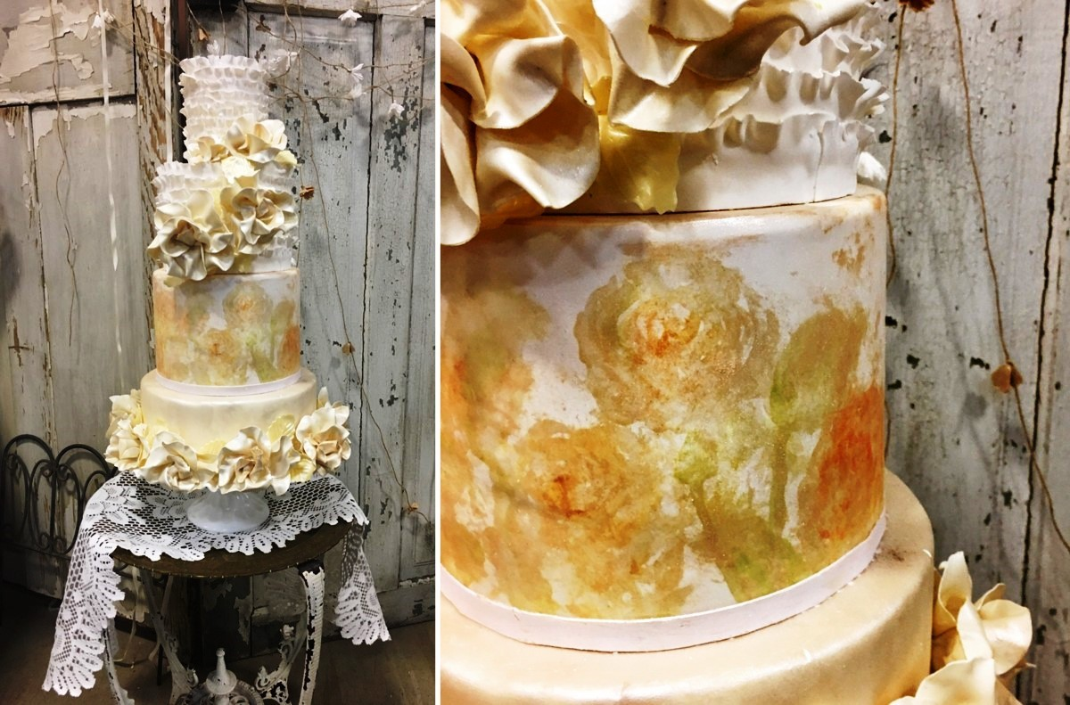 cake with impressionist painting I Do's by Deb wedding Lake Tahoe