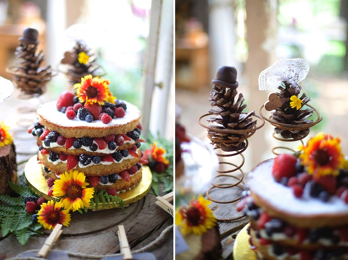 fruit filled cake with rustic toppers I Do's by Deb wedding Lake Tahoe
