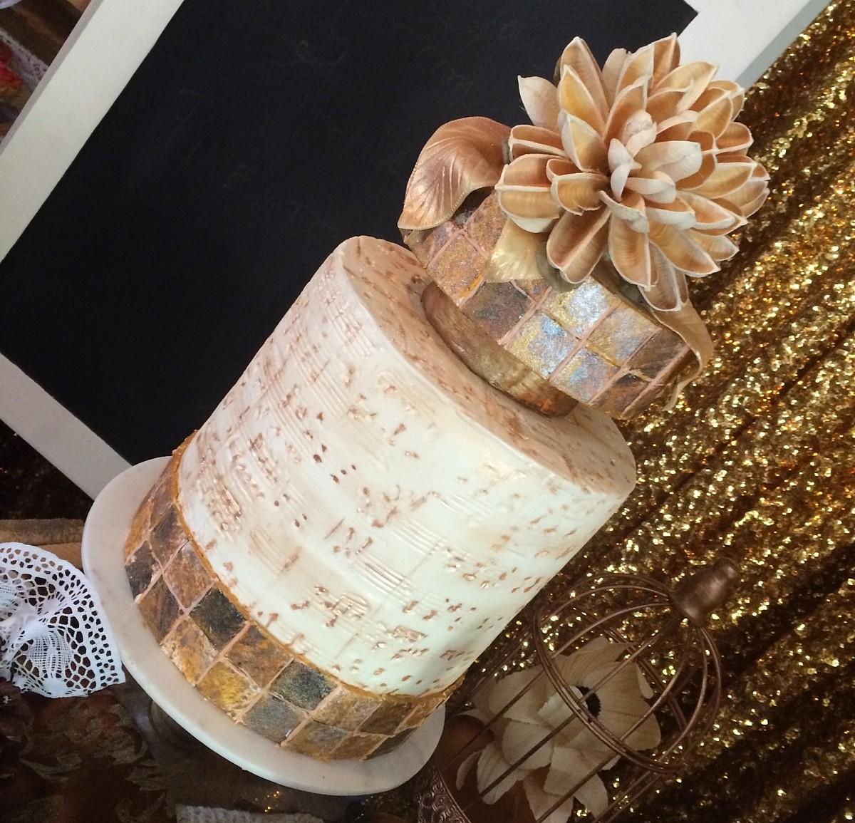 gold tile cake I Do's by Deb wedding Lake Tahoe