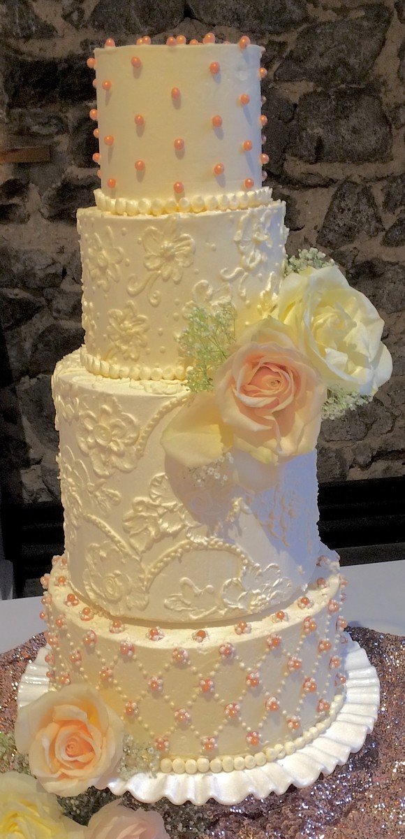 4 tier cake with flowers and detailed patterns I Do's by Deb wedding Lake Tahoe