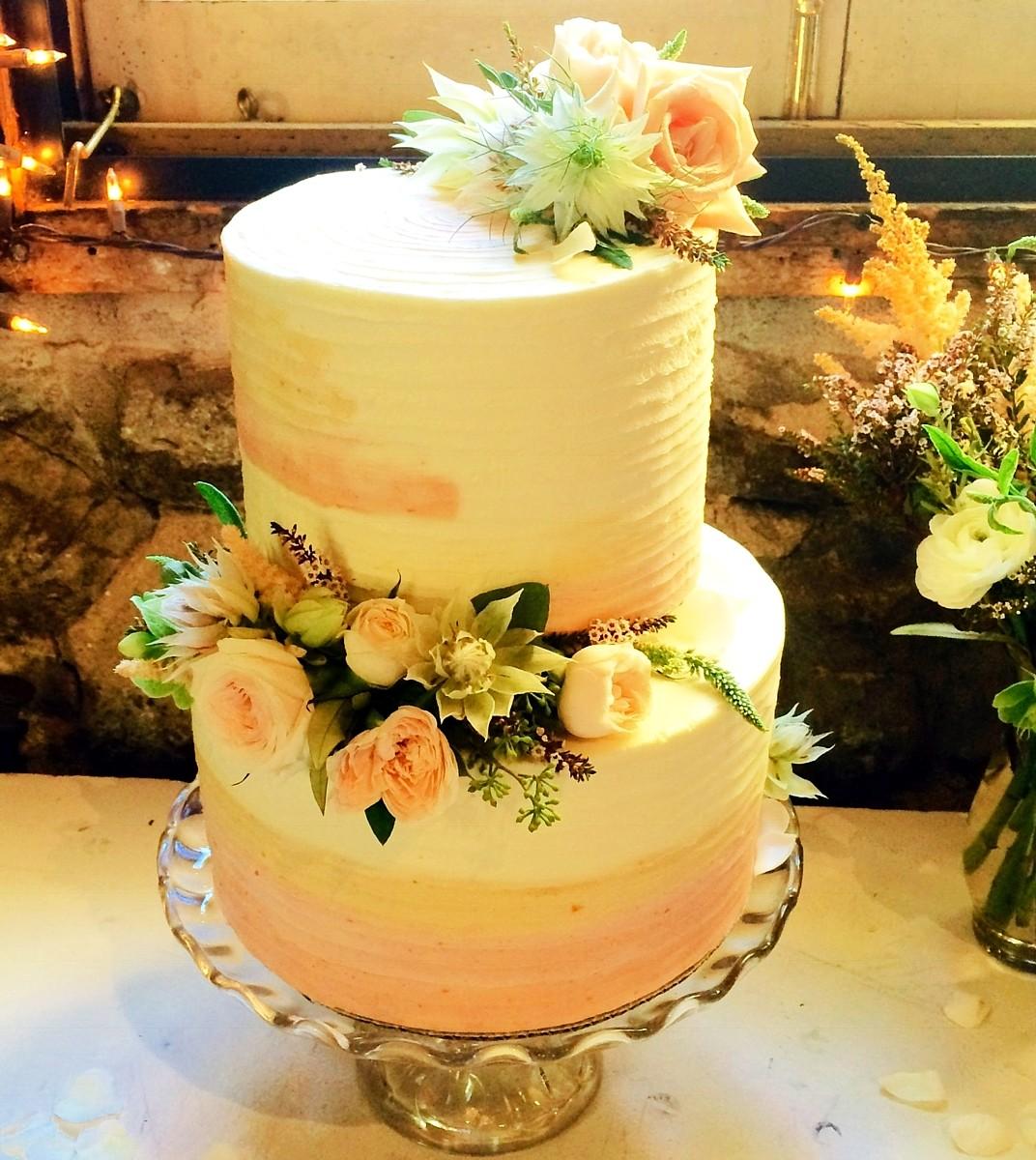 orange sherbet cake with flowers I Do's by Deb wedding Lake Tahoe