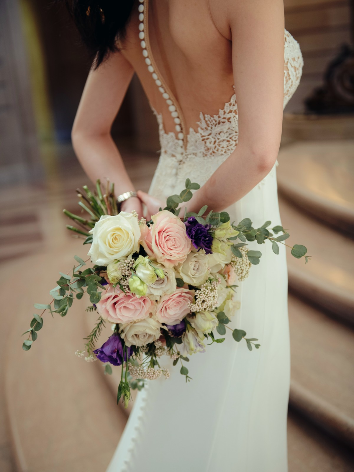 Inspirations by Gina - Lake Tahoe wedding florist - back of bride dress and bouquet