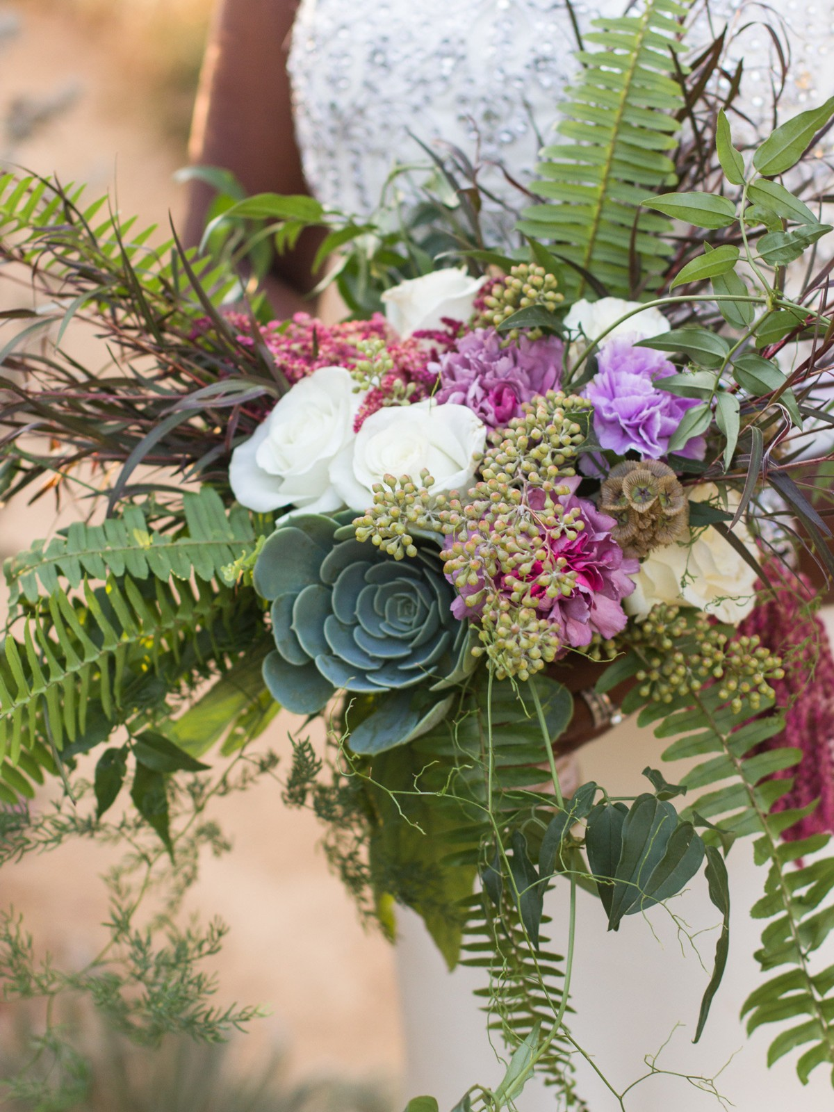 Inspirations by Gina - Lake Tahoe wedding florist - bouquet ferns succulents