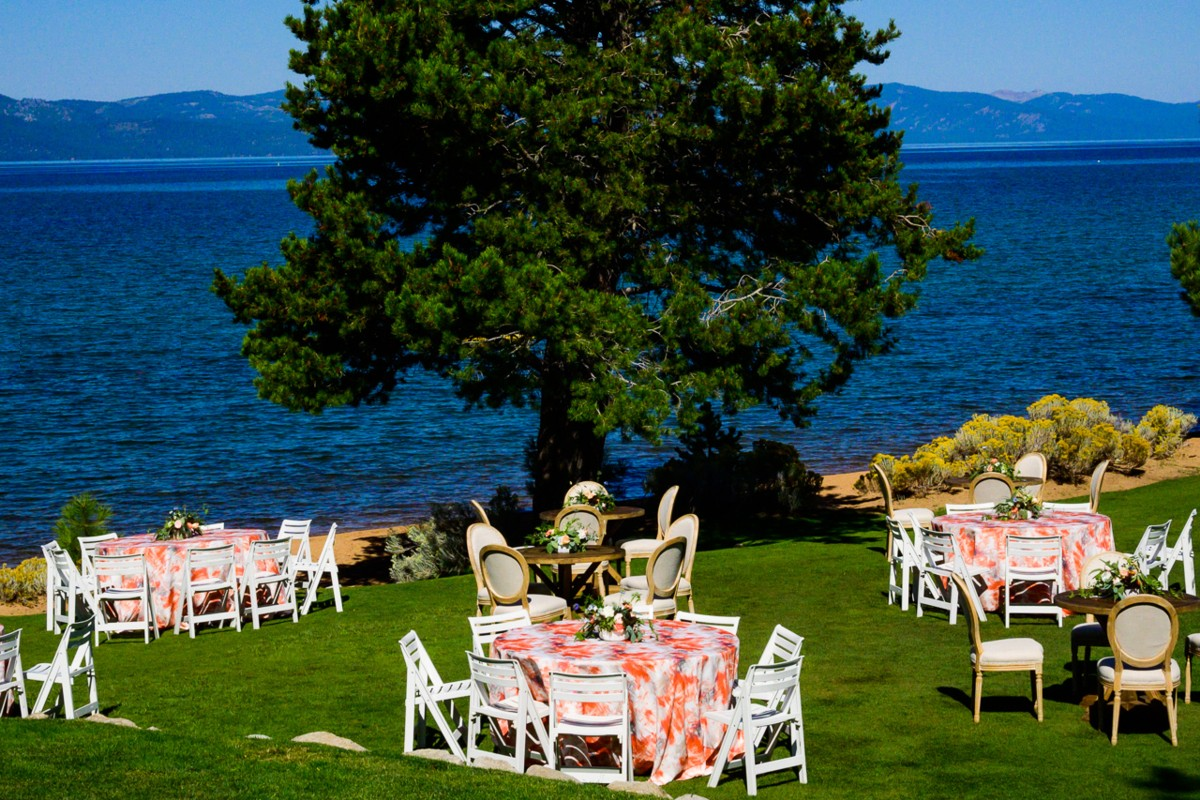 Inspirations by Gina - Lake Tahoe wedding florist - table by lake shore