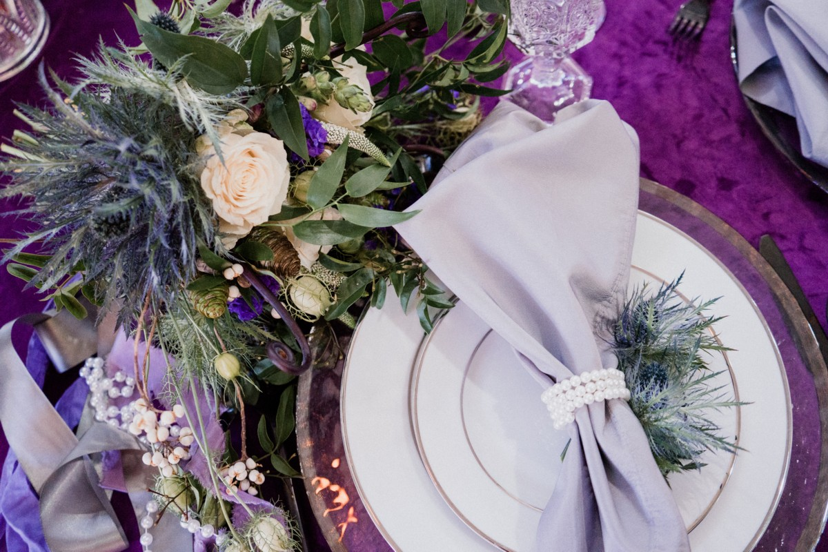 Inspirations by Gina - Lake Tahoe wedding florist - place setting with flowers