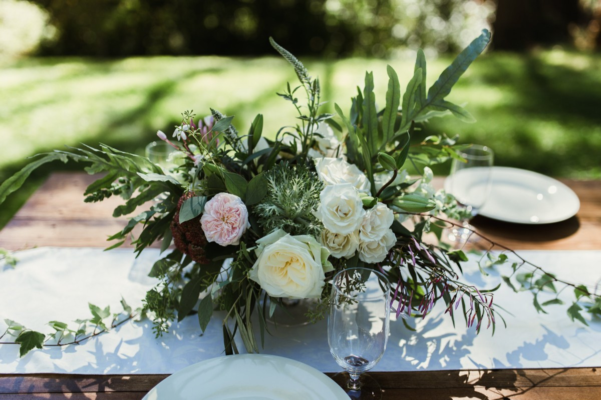 Inspirations by Gina - Lake Tahoe wedding florist - centerpiece on farm table